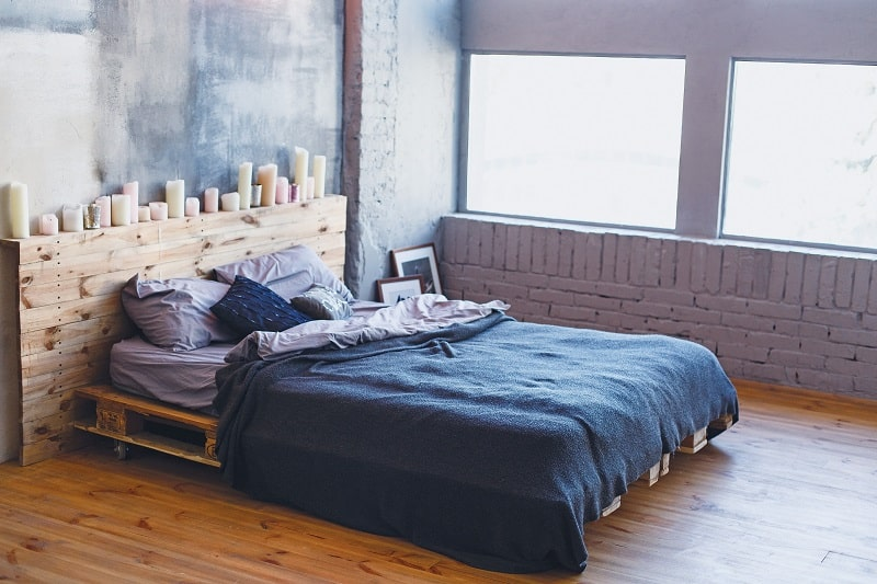 Low platform bed with wood bolsters - DIY platform bed