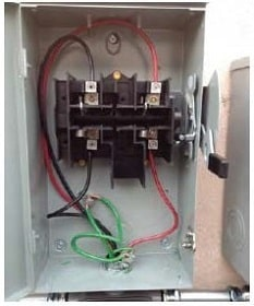 Inside view of DC disconnect switch - Grid-tied and off-grid solar systems