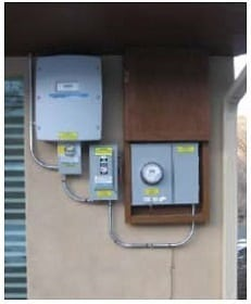 DC disconnect switch, meter and AC disconnect switch - Grid-tied and off-grid solar systems