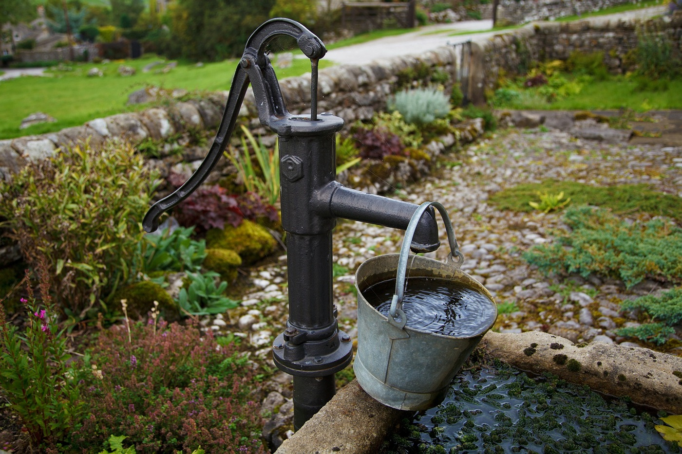 Water-collecting pail outdoors via Pixabay